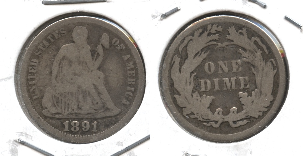 1891 Seated Liberty Dime Fine-12 #k Lightly Porous