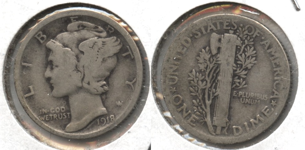 1918 Mercury Dime Good-4