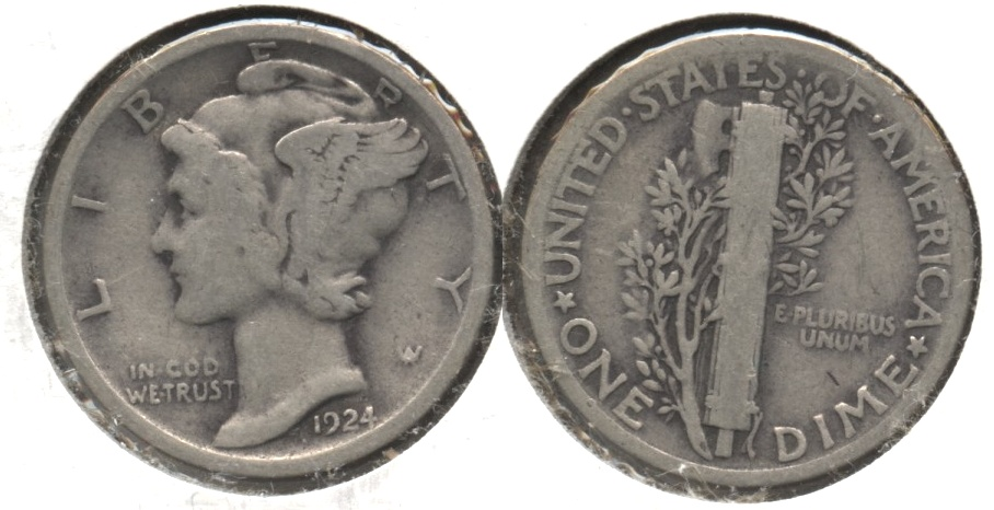1924 Mercury Dime Good-4 #a