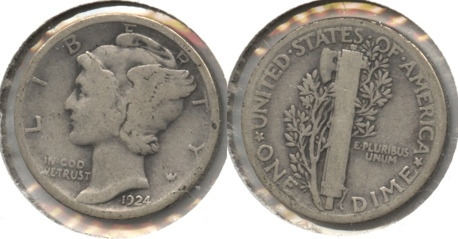 1924 Mercury Dime Good-4 #h