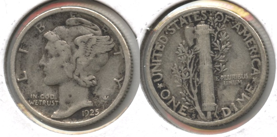 1925-S Mercury Dime Fine-12 #a Some Dark