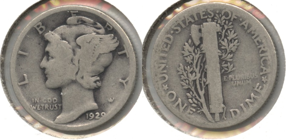 1929 Mercury Dime Good-4