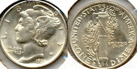 1936-D Mercury Dime MS-60