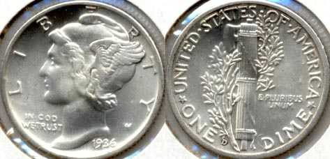 1936-D Mercury Dime MS-64