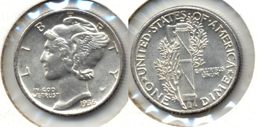 1936 Mercury Dime MS-60 b