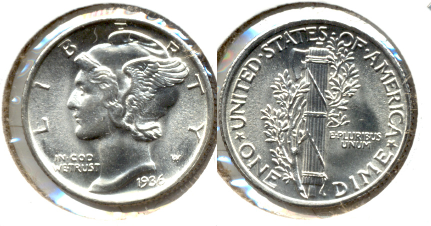 1936 Mercury Dime MS-60 e