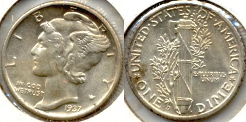 1937-D Mercury Dime MS-60