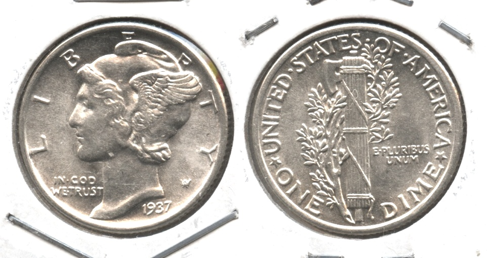 1937 Mercury Dime MS-60 #v