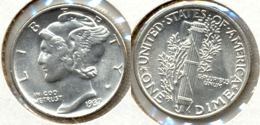 1937 Mercury Dime MS-64 a
