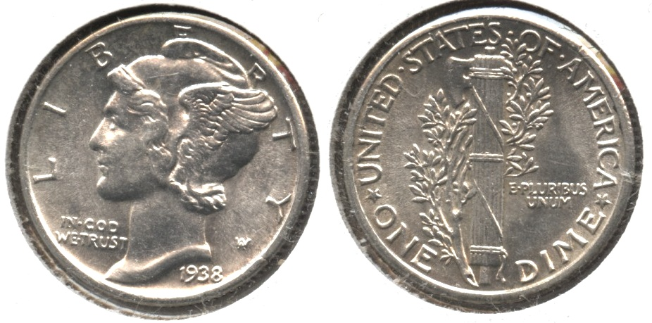1938 Mercury Dime MS-63 #a