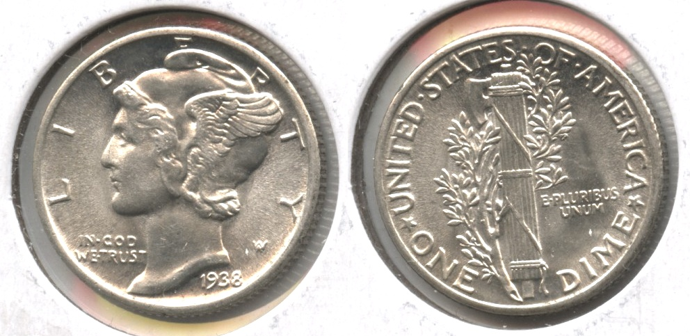 1938 Mercury Dime MS-64