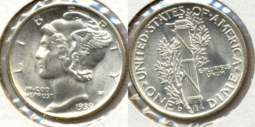 1939-D Mercury Dime MS-60
