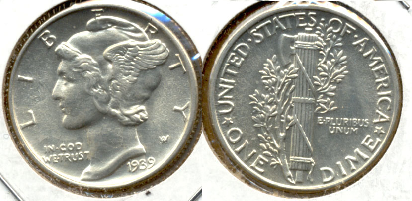 1939 Mercury Dime MS-60 b