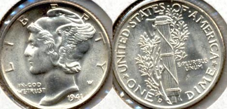 1941-D Mercury Dime MS-60