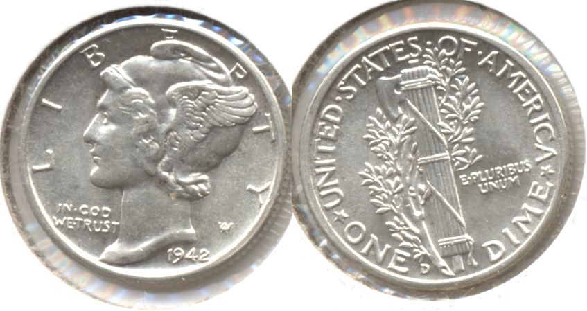 1942-D Mercury Dime MS-60 g
