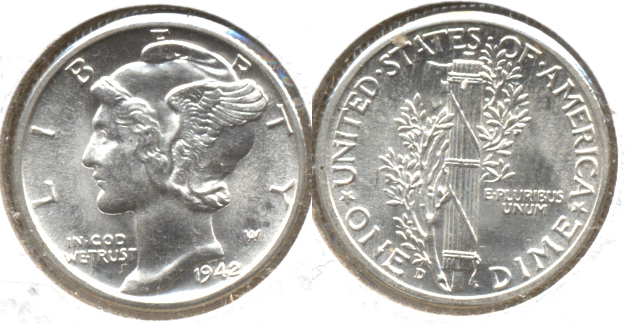1942-D Mercury Dime MS-63 c