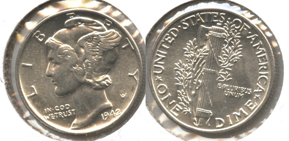 1942 Mercury Dime MS-60 #m