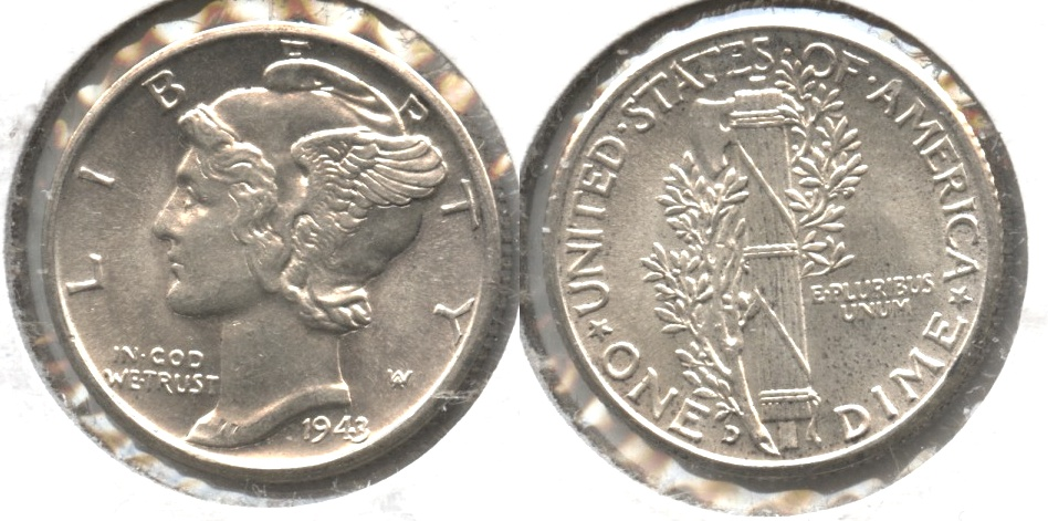 1943-D Mercury Dime MS-60 #f