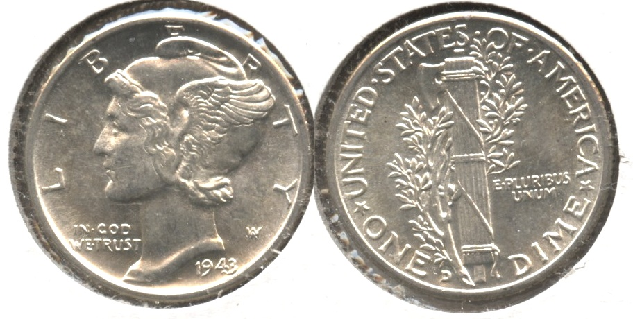 1943-D Mercury Dime MS-60 #p
