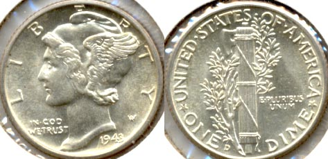 1943-D Mercury Dime MS-64