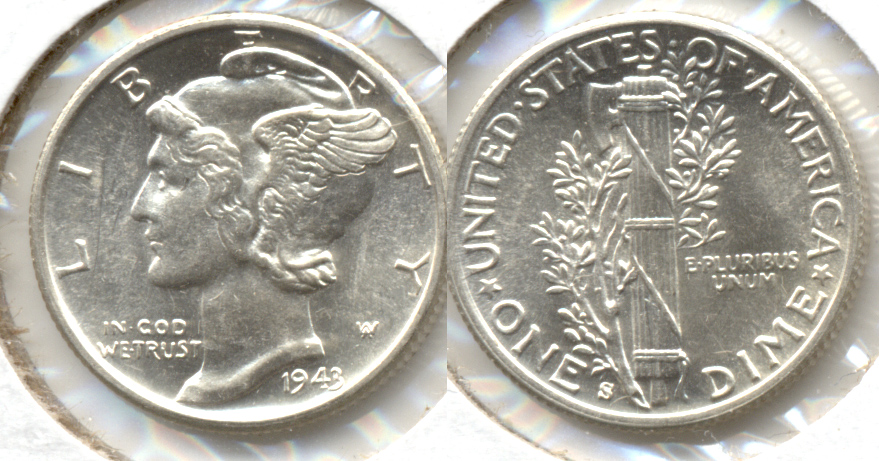 1943-S Mercury Dime MS-60 o