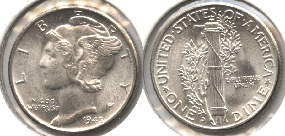 1945-D Mercury Dime MS-60 #m
