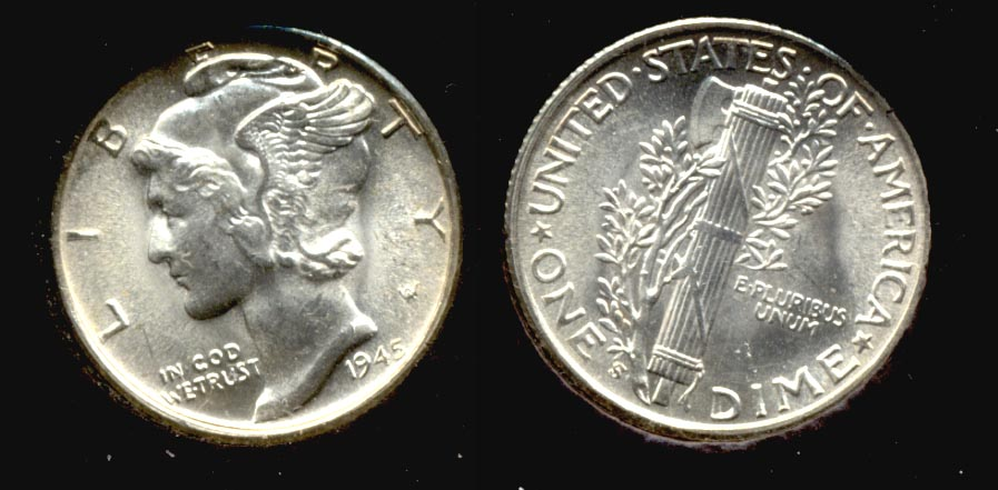 1945-S Mercury Dime MS-64 n