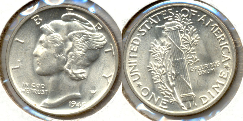 1945 Mercury Dime MS-63 n