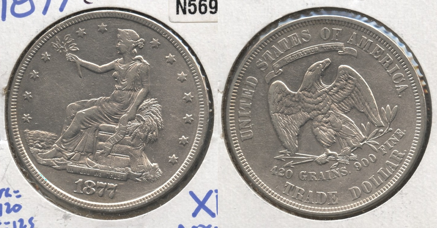 1877 Trade Dollar EF-40 Cleaned