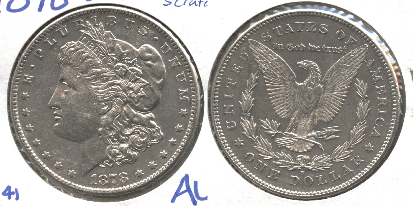 1878-S Morgan Silver Dollar AU-50 #p Obverse Scratches