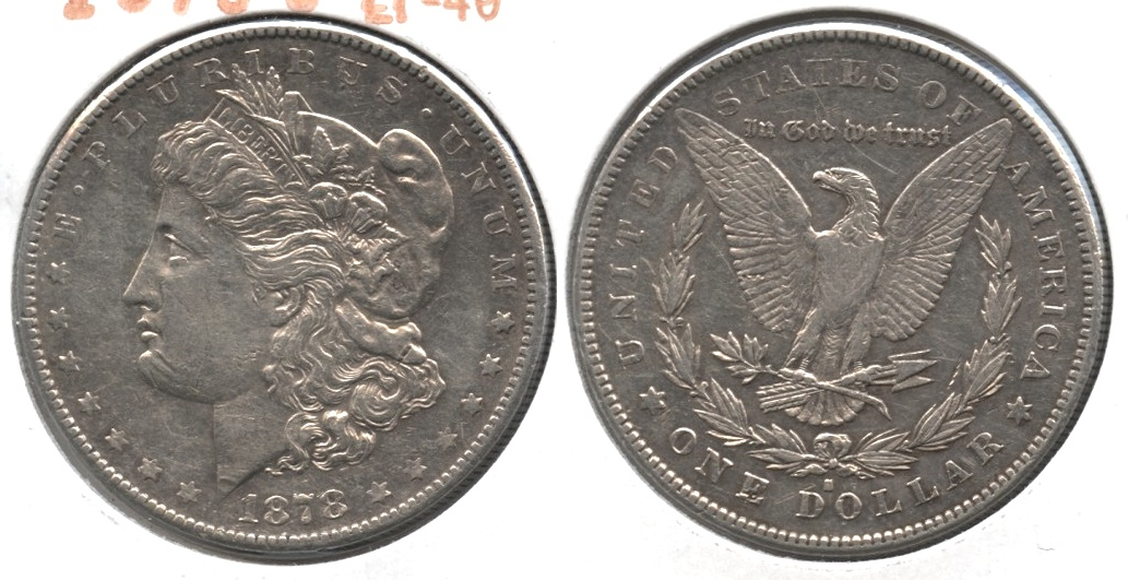 1878-S Morgan Silver Dollar EF-40 g Obverse Scratches