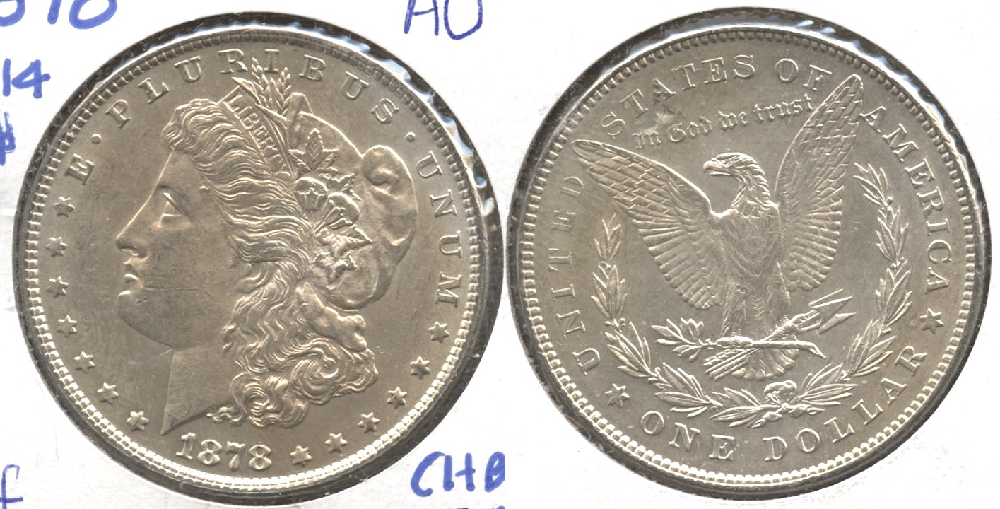 1878 Morgan Silver Dollar 7 over 8 Tailfeathers AU-50 #f