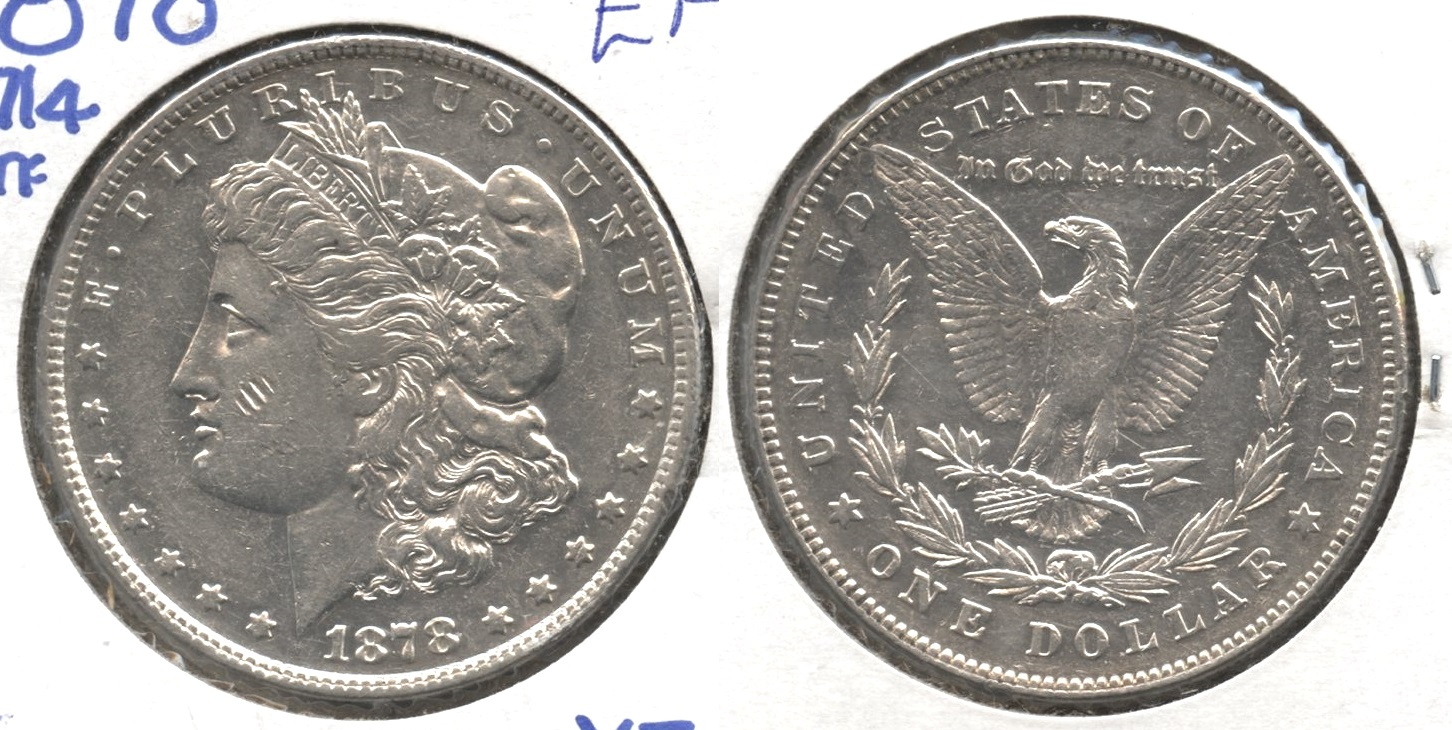 1878 Morgan Silver Dollar 7 over 8 Tailfeathers EF-40 #c
