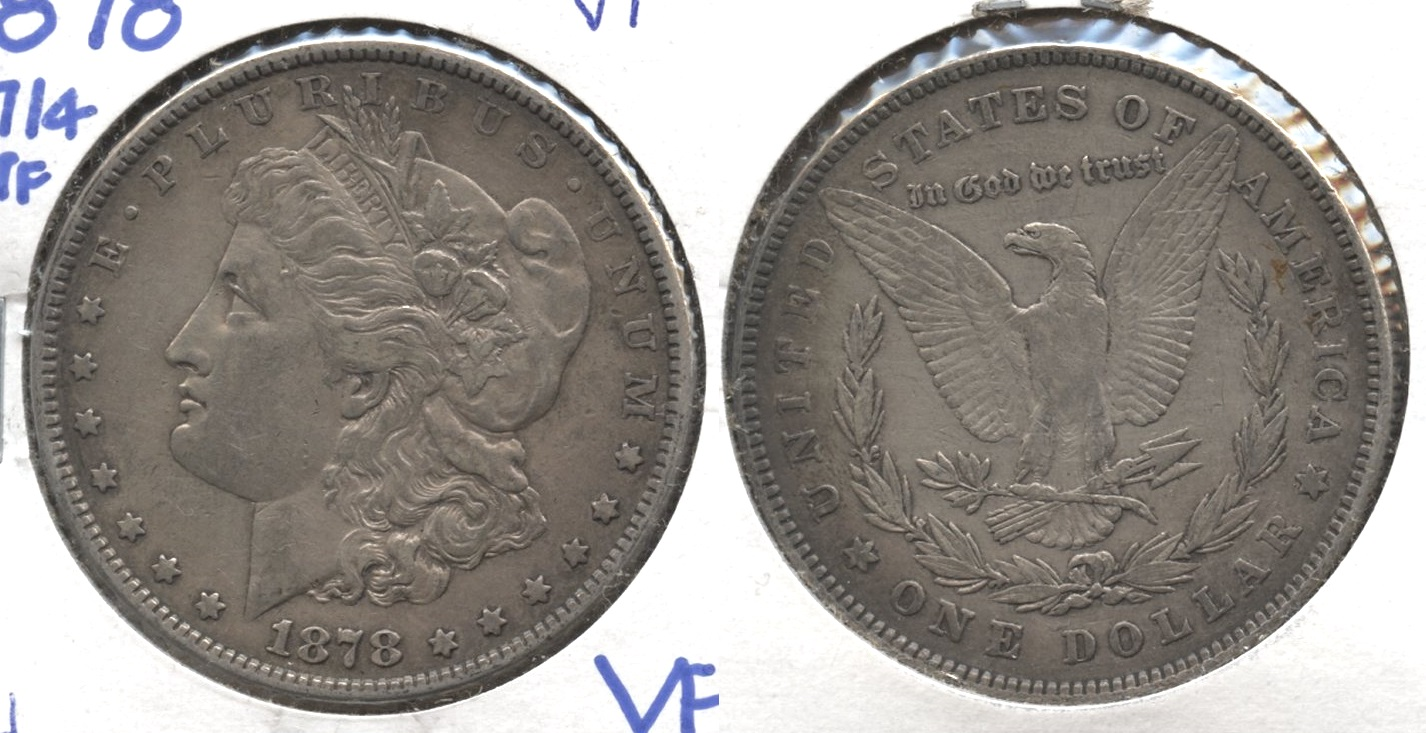 1878 Morgan Silver Dollar 7 over 8 Tailfeathers VF-20 #d