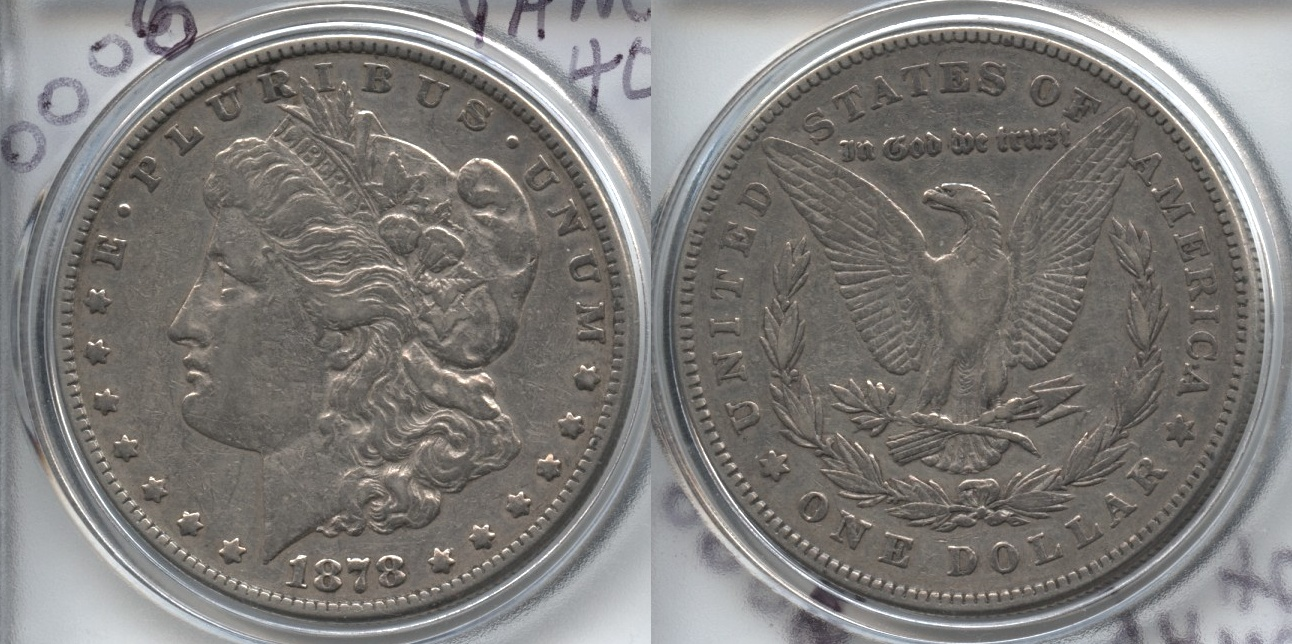 1878 Morgan Silver Dollar 7 over 8 Tailfeathers VF-30 Cleaned VAM-40 Broken N and M