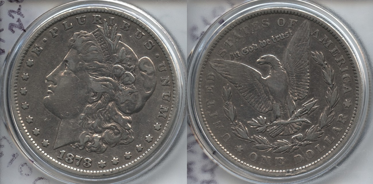 1878 Morgan Silver Dollar 7 Tailfeathers Fine-15 Cleaned Reverse of 1879 VAM-228