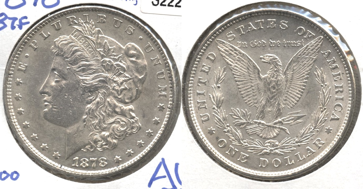 1878 Morgan Silver Dollar 8 Tailfeathers AU-50 Lightly Cleaned
