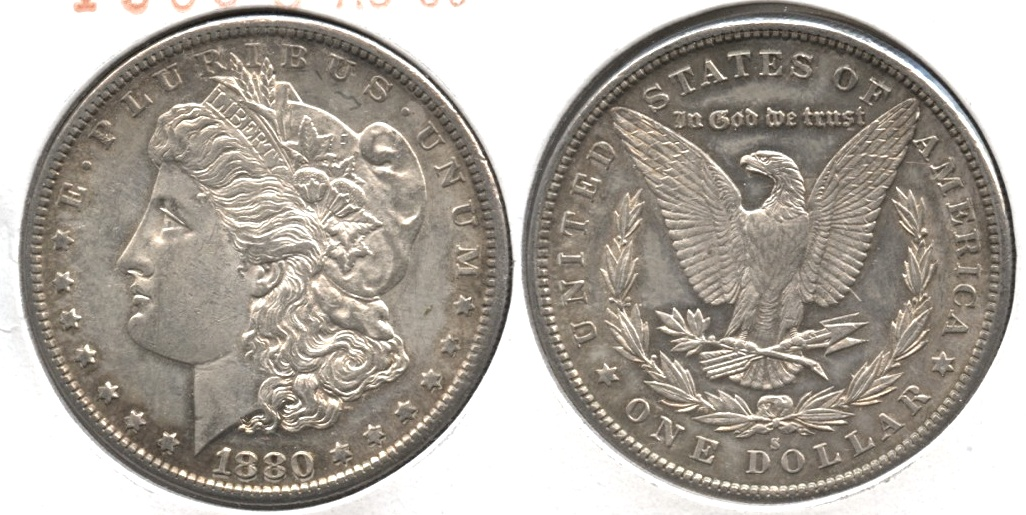 1880-S Morgan Silver Dollar AU-50 b
