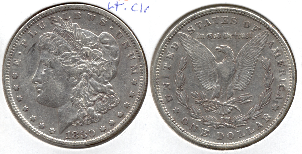 1880 Morgan Silver Dollar EF-40 j Lightly Cleaned