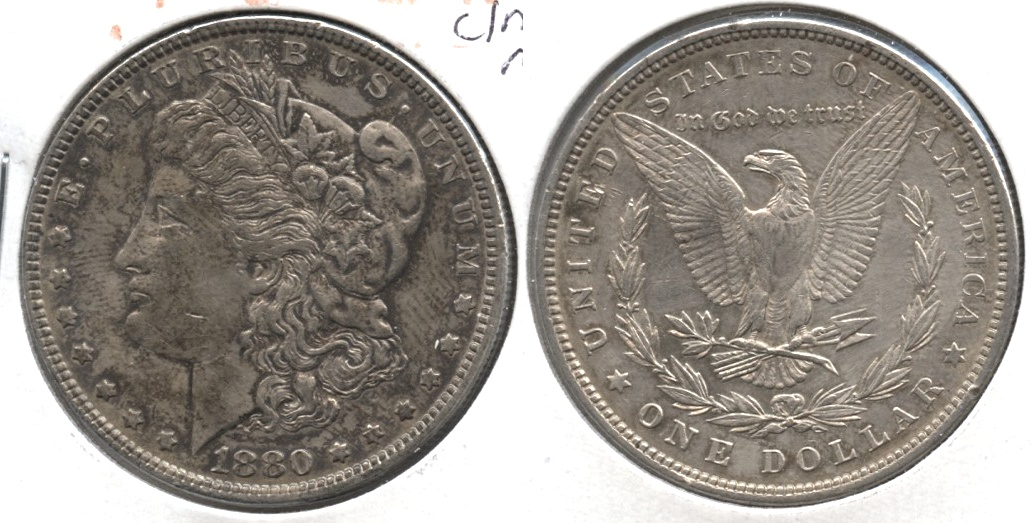 1880 Morgan Silver Dollar EF-40 #l Cleaned Reverse