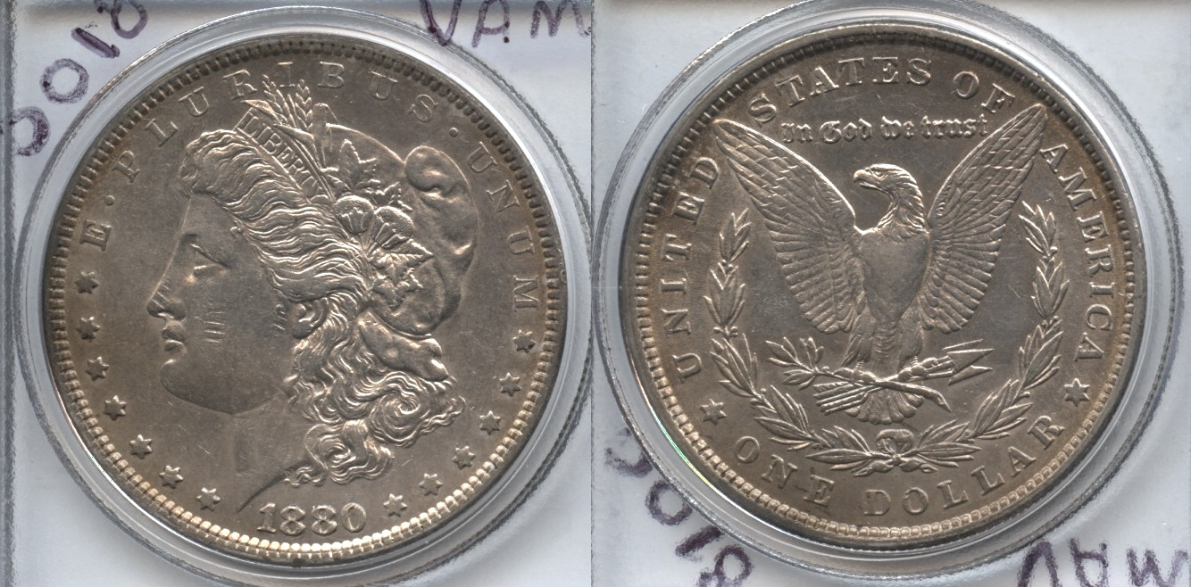 1880 Morgan Silver Dollar EF-40 #n 8 over 7 Spikes VAM-6 Top 100