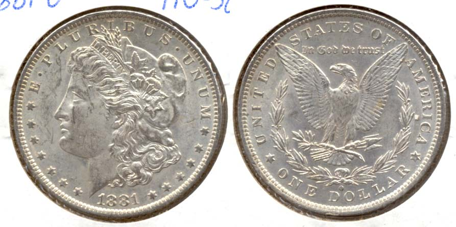 1881-O Morgan Silver Dollar AU-50