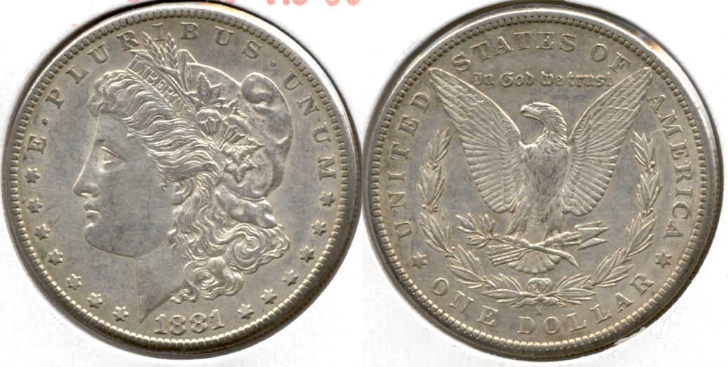 1881-S Morgan Silver Dollar AU-50 a