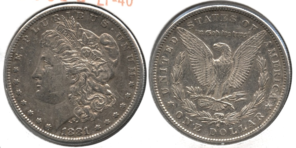 1881-S Morgan Silver Dollar EF-40 j