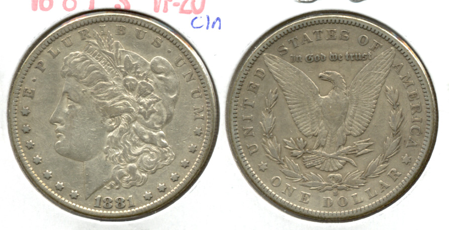 1881-S Morgan Silver Dollar VF-20 Cleaned