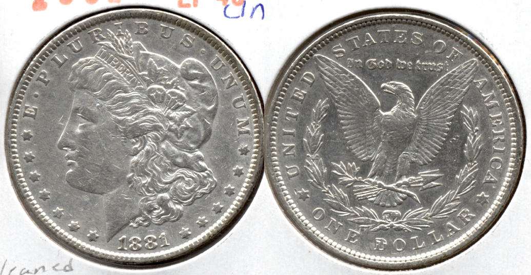 1881 Morgan Silver Dollar EF-40 a Cleaned
