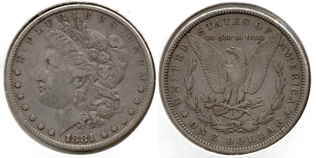 1881 Morgan Silver Dollar VF-20 c