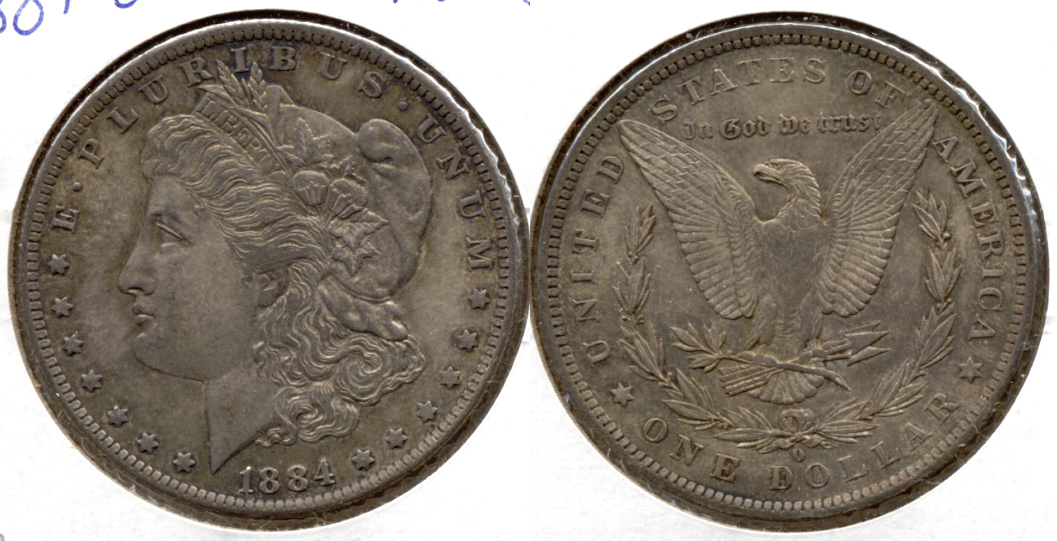 1884-O Morgan Silver Dollar AU-55 d