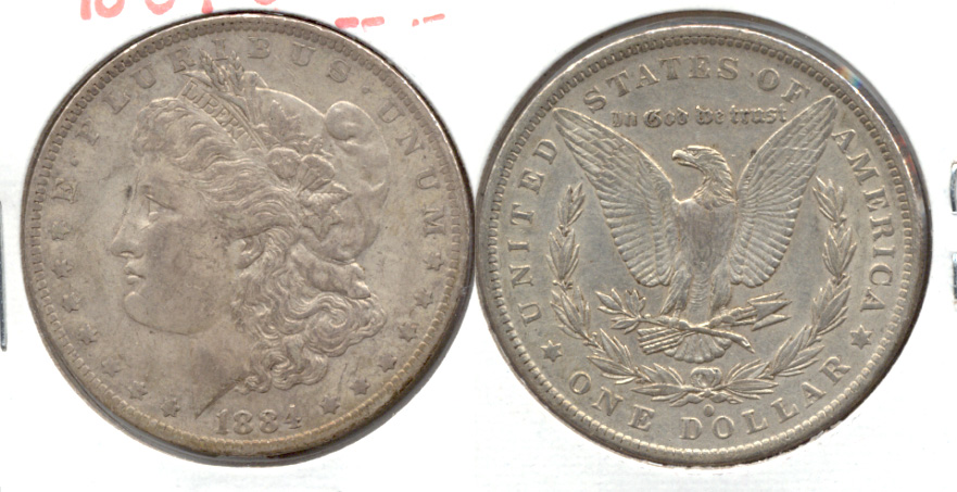 1884-O Morgan Silver Dollar EF-40 b