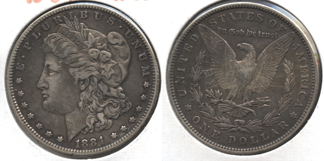 1884 Morgan Silver Dollar VF-30 #d Cleaned Retoned